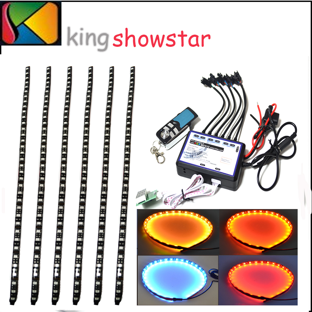 6 pcs 60cm Auto car disco light Underbody Engine Neon Accent light Kit with 6 channel Multi-function controller