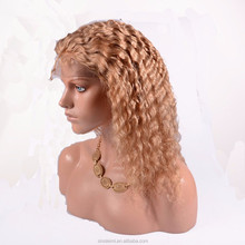 hot style virgin remy hair color 27 deep curly lace wigs with baby hair lace front wigs small size cap in stock