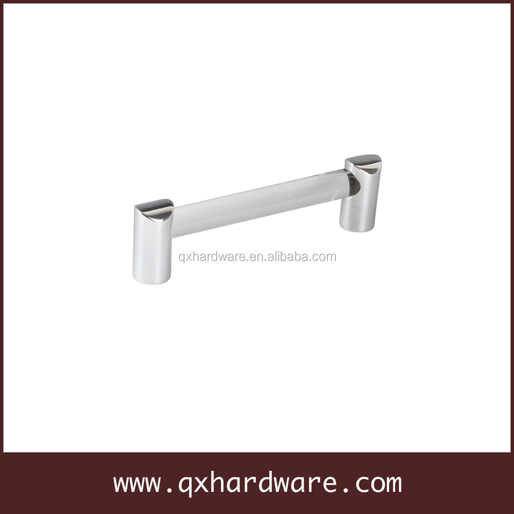 Chrome finish acrylic cabinet handle, furniture handles
