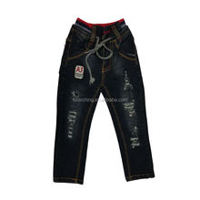 2017 biker kids ripped jeans straight with rib and scratch