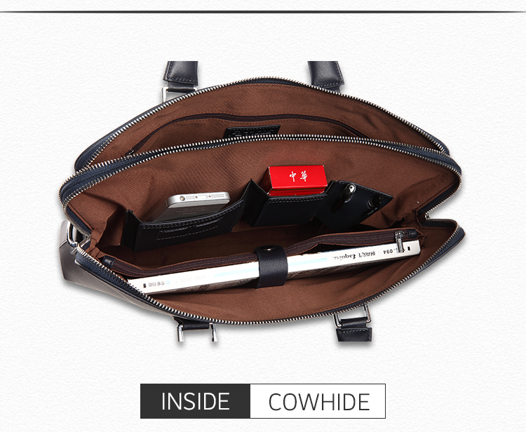 Laptops Computer Briefcase Men Conference Document Bags Leather Handbag