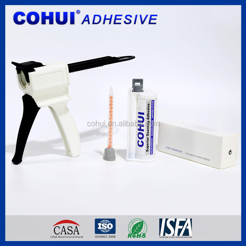 Adhesives for bonding engineered stone, natural stone, quartz and solid-surface building products