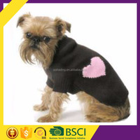 Round collar black basic pink heart printing china fashion dog sweater for sale