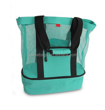 Mesh Beach Tote Bag with Insulated Picnic Cooler Storage Space