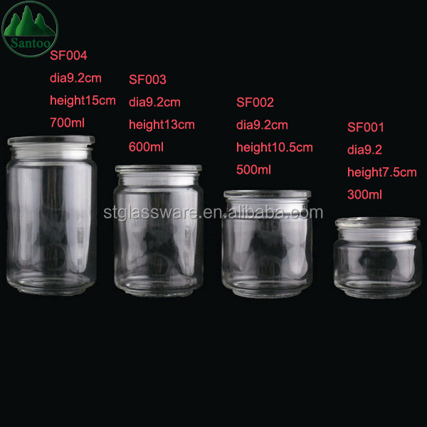 Excellent Storage Glass Jars with Lid and Plastic Ring