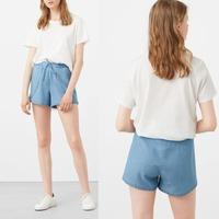 Summer women clothing ladies soft denim shorts curved hem OEM design with mini high waist