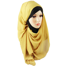Solid color long size new designs bubble chiffon plain african muslim women scarf