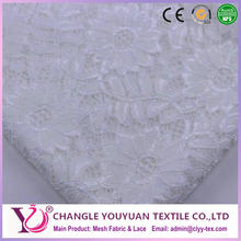 Fashional bridal white floral lace fabric for skirts