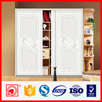 12mm thick aluminum profile MDF wooden carve sliding wardrobe door