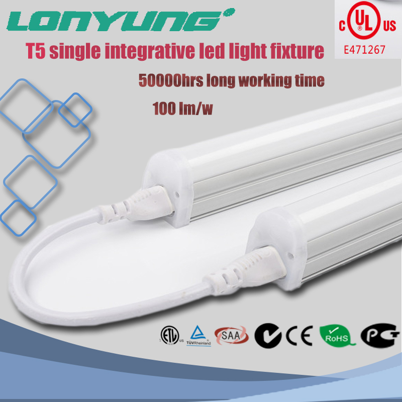 4ft t5 integrated led tube clear/milky PC cover warm white cool white CCT for option led T5 tube integrated