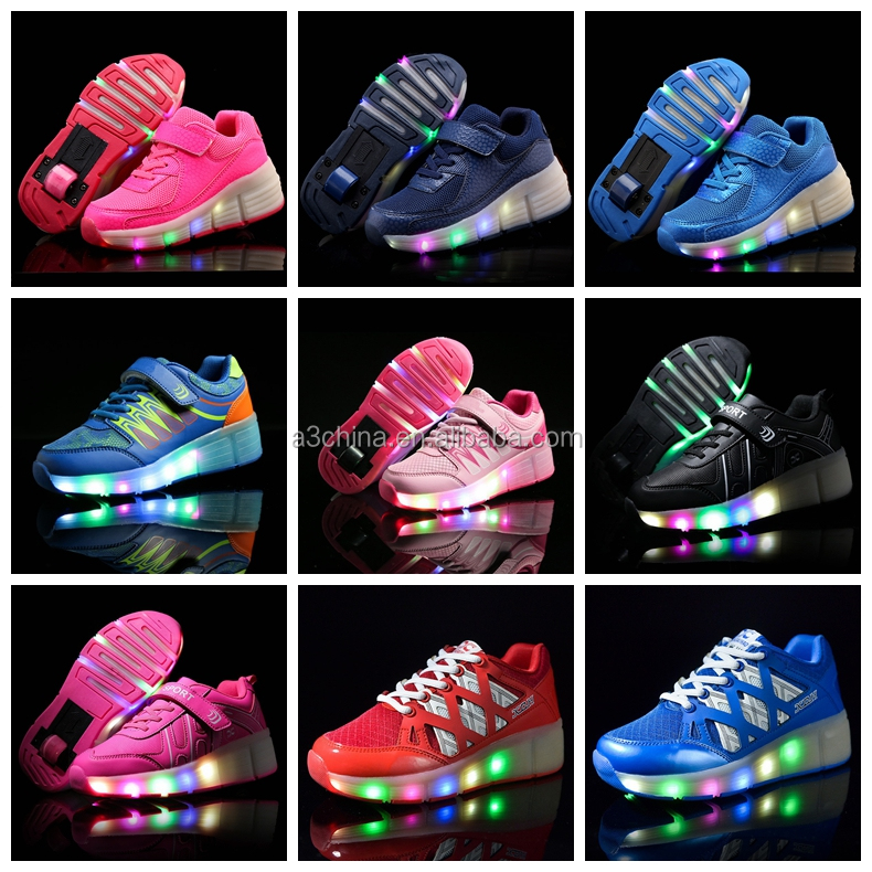 blinking light up kids child 1 wheel roller shoes