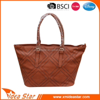 China cheap wholesale women tote bag brown pu hand bag for lady