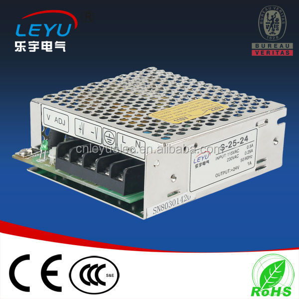 25w 24vdc single output 1A industrial power supply for lamp driver CE ROHS 2 warranty