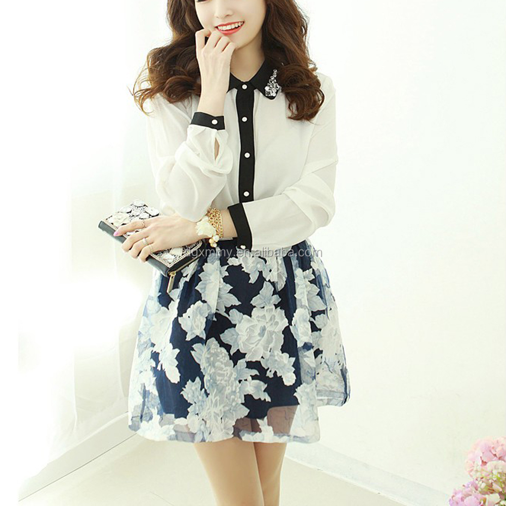 Summer Elegant Retro Flare Floral Gauze Tulle Skirt Young Girls Mini Skirt Ladies High Waist Pleated Skirt Elastic Waist