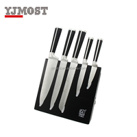 Damascus kitchen knife set of 5 with magnetic knife block
