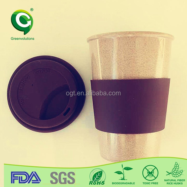 Organic husk fiber biodegradable coffee cup,shenzhen cup
