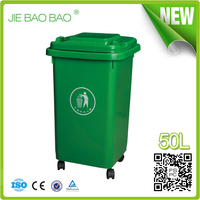 2015 outdoor kitchen Household plastic container homes usage 4 wheel euro bin 50 liter environment friendly square trash can