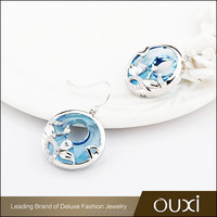 OUXI new design thailand beaded hoop 925 sterling silver earrings Y20307