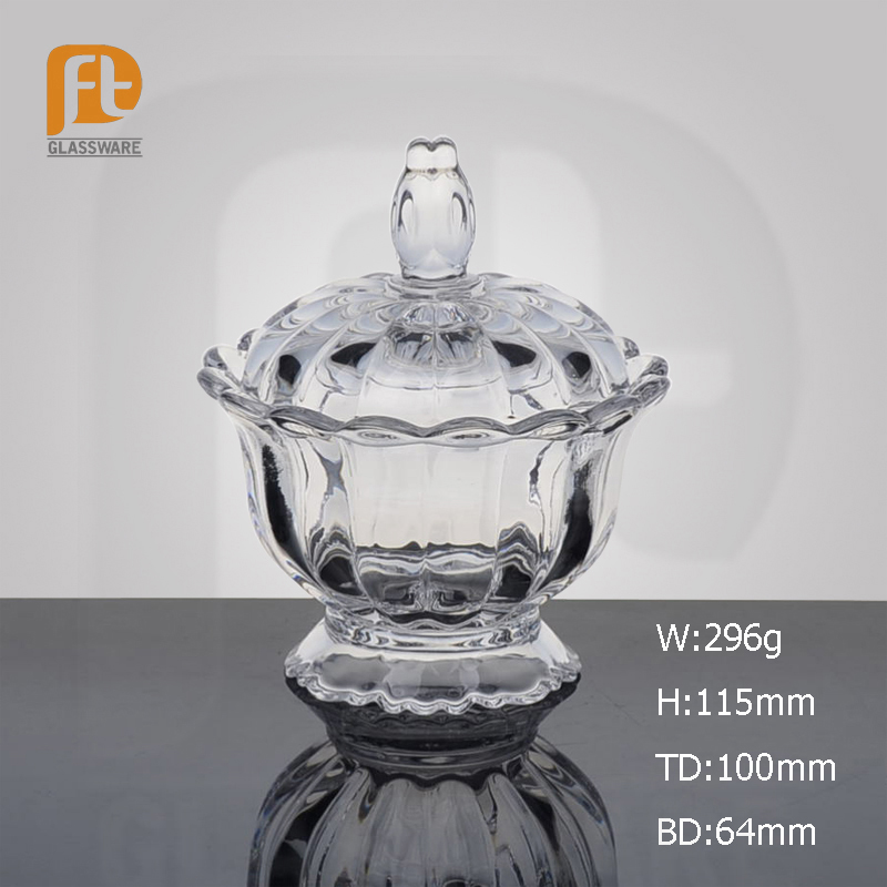Fancy Design Stem Elegant Crystal Flower Mouth Clear Snacks Candy Glass Bowl with Lid