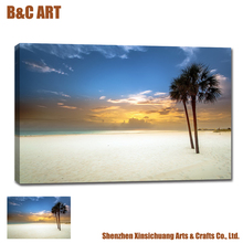 Sea Scenery Canvas Wall Art Palm Tree Beach Cheap Bulk Poster Printing for Hotel