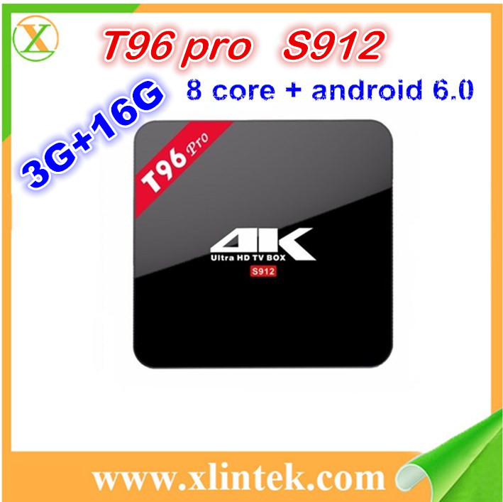 T96 PRO Amlogic S912 3GB ram 16GB rom android 6.0 tv box Octa Core 4K google paly store tv box 3g ram 96 pro