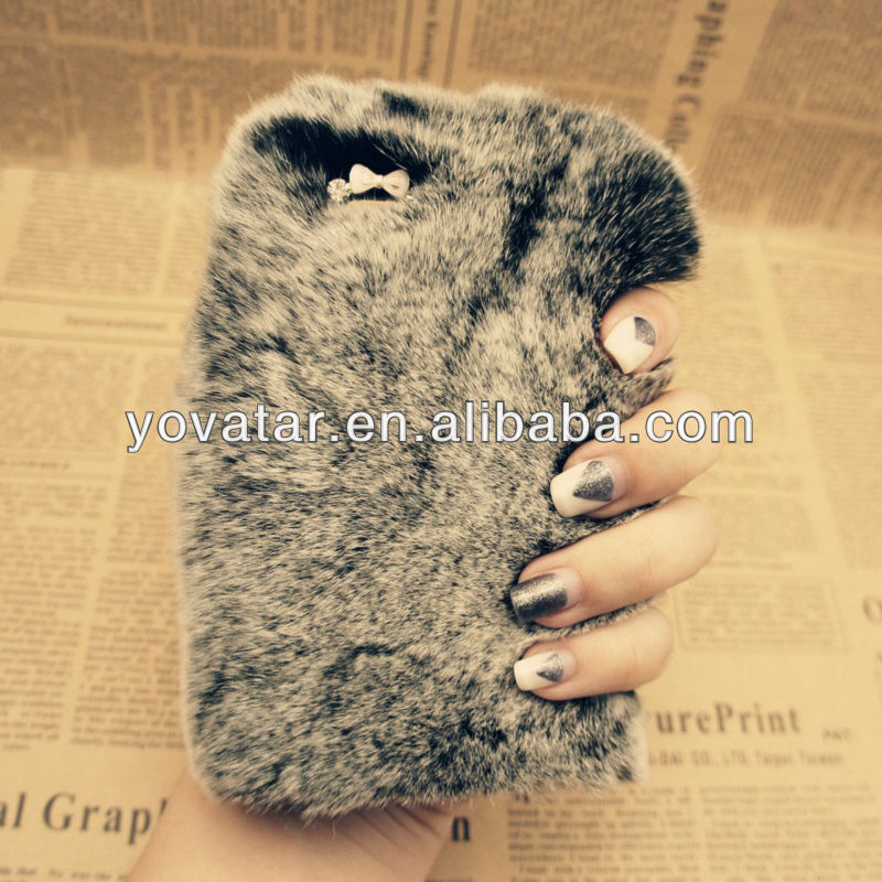 Warm Gray Bling Luxury Rabbit Fur Hair Case For iPhone5 5g