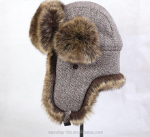 wool fabric winter warm fur russian ushanka hat/lumberjack hat/eskimo hat