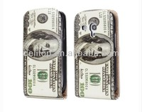 American Currency US Dollars Vertical Flip Leather Case for Samsung Galaxy S3 i9300 Mini i8190