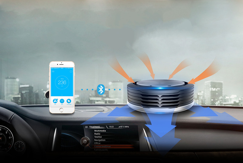 Rechargeable air purifier hepa filter air purifier ionizer car with bluetooth 4.0