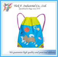 Twill Cotton with Cute Cartoon Dog printing children kids drawstring backpack