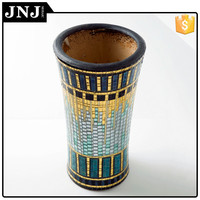 Multiple Color Flower Mosaic Glass Vase