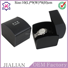 Black PU leather single watch packaging boxes