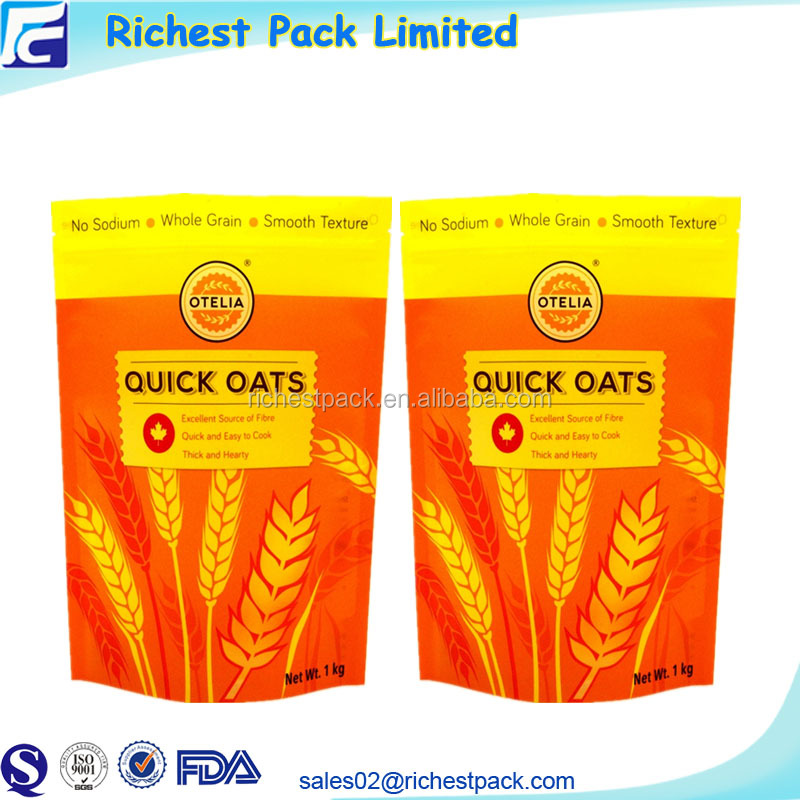 Custom printing stand up doypack 1 kg oat flour laminated plastic packaging bag