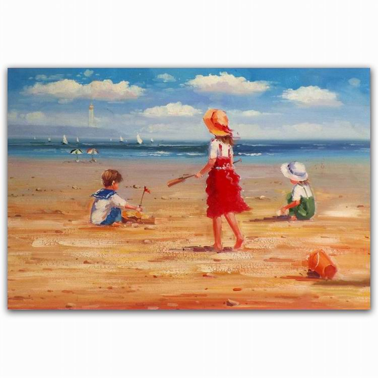 Beautiful nude foot girl and boy on beach art oil painting canvas with pottery
