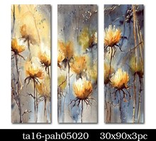 Factory direct three panels abstract flower oil painting on canvas 100% handmade arts
