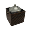 Large Leather Wooden Ice Bucket For