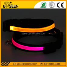 Amazon Top saler Wholesale TPU & Nylon Webbing LED Dog Collar With Decorative