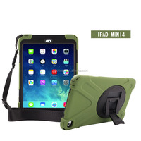 Waterproof Shockproof Screen Protect PVC+PC+silicone Case with 360 rotating degree Kickstand for Apple iPad Mini 4 case
