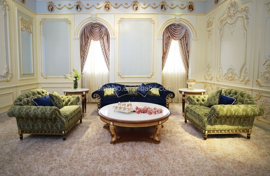 Luxury French Design New Classic Navy Fabric Sofa/ Elegant Palace Hand Carved Wooden Living Room Furniture Sofa Set