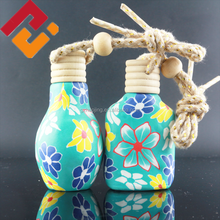 Wholesale 15ml 20ml blue empty wooden cap hanging car air freshener vent perfume glass bottle