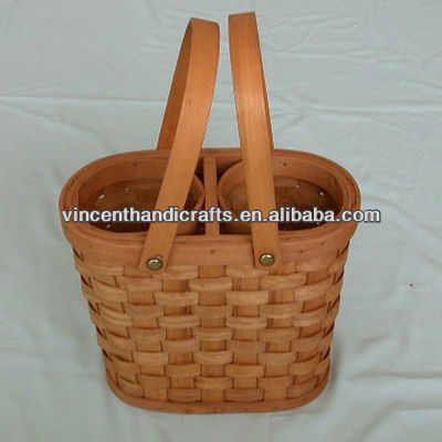 Wooden wine bottle basket for picnic with handles