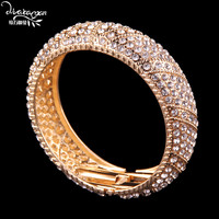 Dvacaman Brand 2017 Indian Wedding Bridal Crystal Rhinestone Bangle&Bracelet Women Vintage Gold Plated Maxi Bracelet Jewelry J67