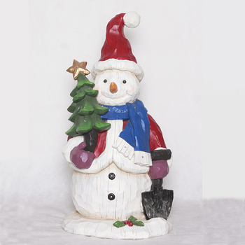 Resin Fancy Christmas Led Light Santa Ornament