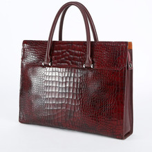 Mens Real Leather Croc Print Briefcase Genuine Leather Bag Office Combinations Lock Bag