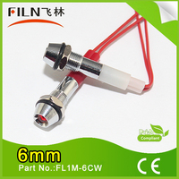 filn 6mm control panel mini waterproof red and green 12v led indicator light motorbike direction indicator lamp with wire