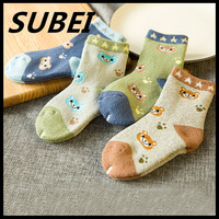 Children towel socks cute cartoon bear terry thickening in winter young baby boy and girl cotton tube socks