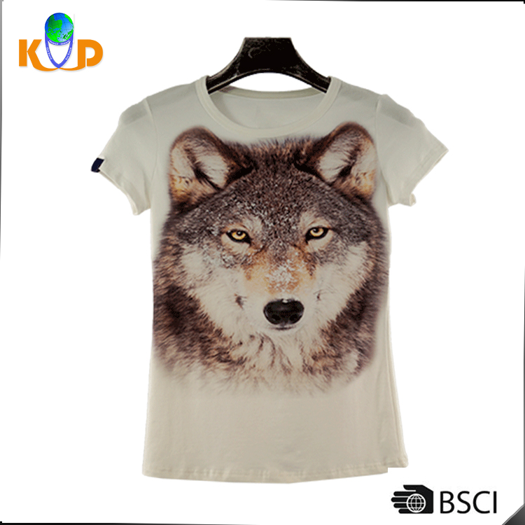 Cheapest Womens clothes factory printed short sleeve lady t-shirt