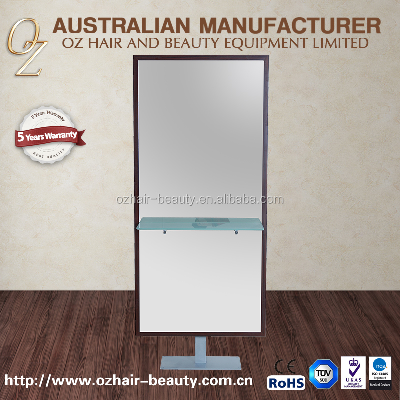 Standing Hair Beauty Salon Mirror Double Sided Styling Station Mirror