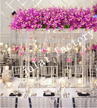 wedding centerpieces crystal acrylic flower stand for wedding table decoration with chandelier beads