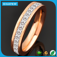 High Quality Rose Gold Aa Cubic Zircon Latest Ring Designs For Girls